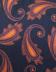 close up navy orange tie