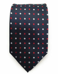 Navy blue tie with red and white dots