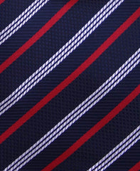 Red, White & Navy Blue Striped Necktie