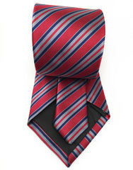 burgundy and blue striped tie