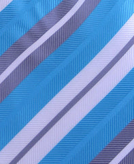 Aqua Blue, Silver & White Striped Tie