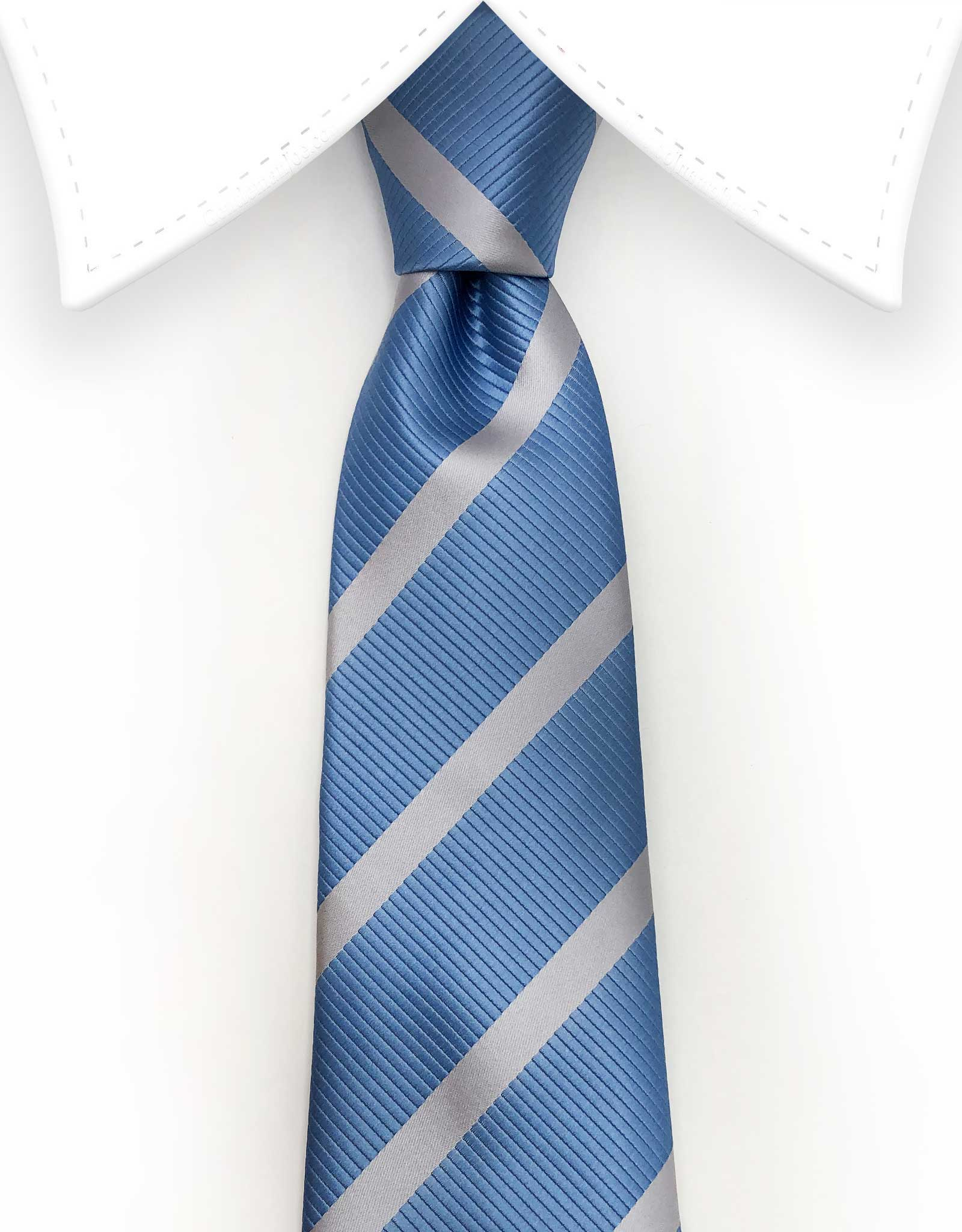 extra long blue and silver tie