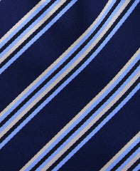 Navy Blue, Light Blue & Yellow Striped Tie