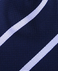 Midnight Navy Blue & Silver Striped Tie