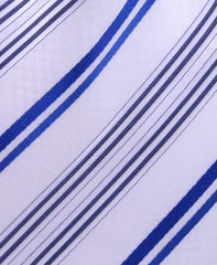 White & Blue Striped Necktie