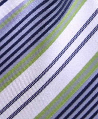 Green, Black, Ivory & Silver Striped Necktie