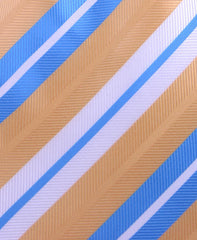 Light Blue, Gold & White Striped Tie
