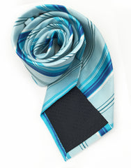 Turquoise, Blue & White Striped Tie