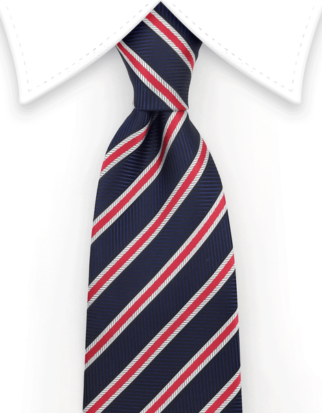 navy blue, red and white repp stripe tie
