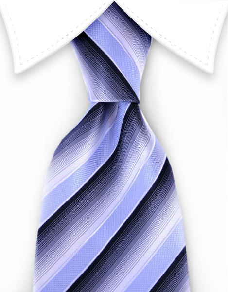 Blue, black, gray striped tie