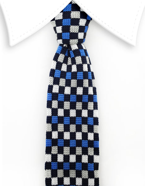 blue and black squares knitted tie