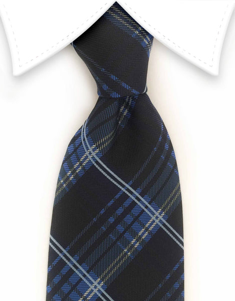 blue black plaid tie