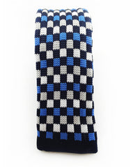 knitted tie with blue, black, white squares