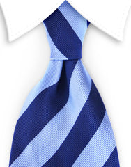 Collegiate blue striped tie
