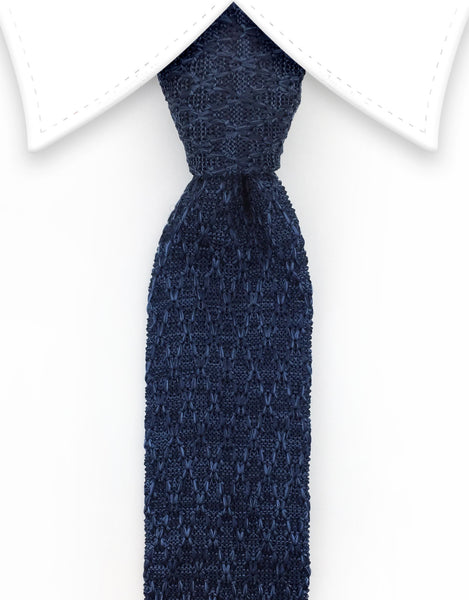variegated blue knit tie