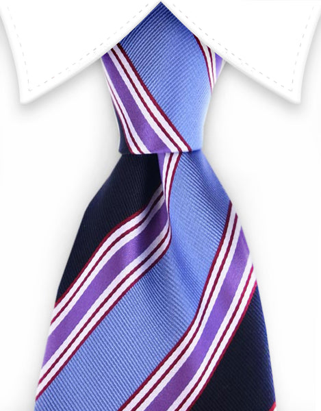 blue, purple, black striped tie
