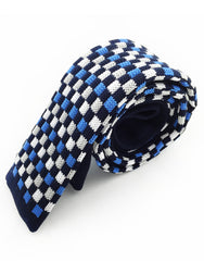 side view of blue, black tie with squares
