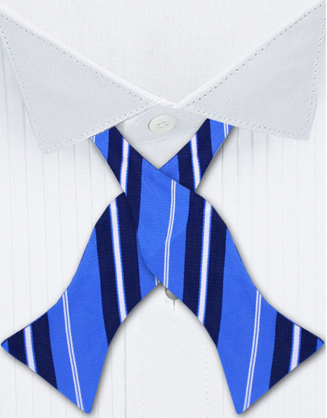 Blue striped bow tie