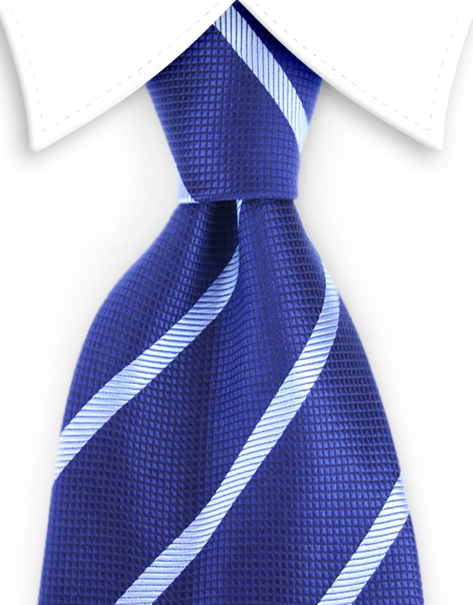 dark blue and light blue striped tie