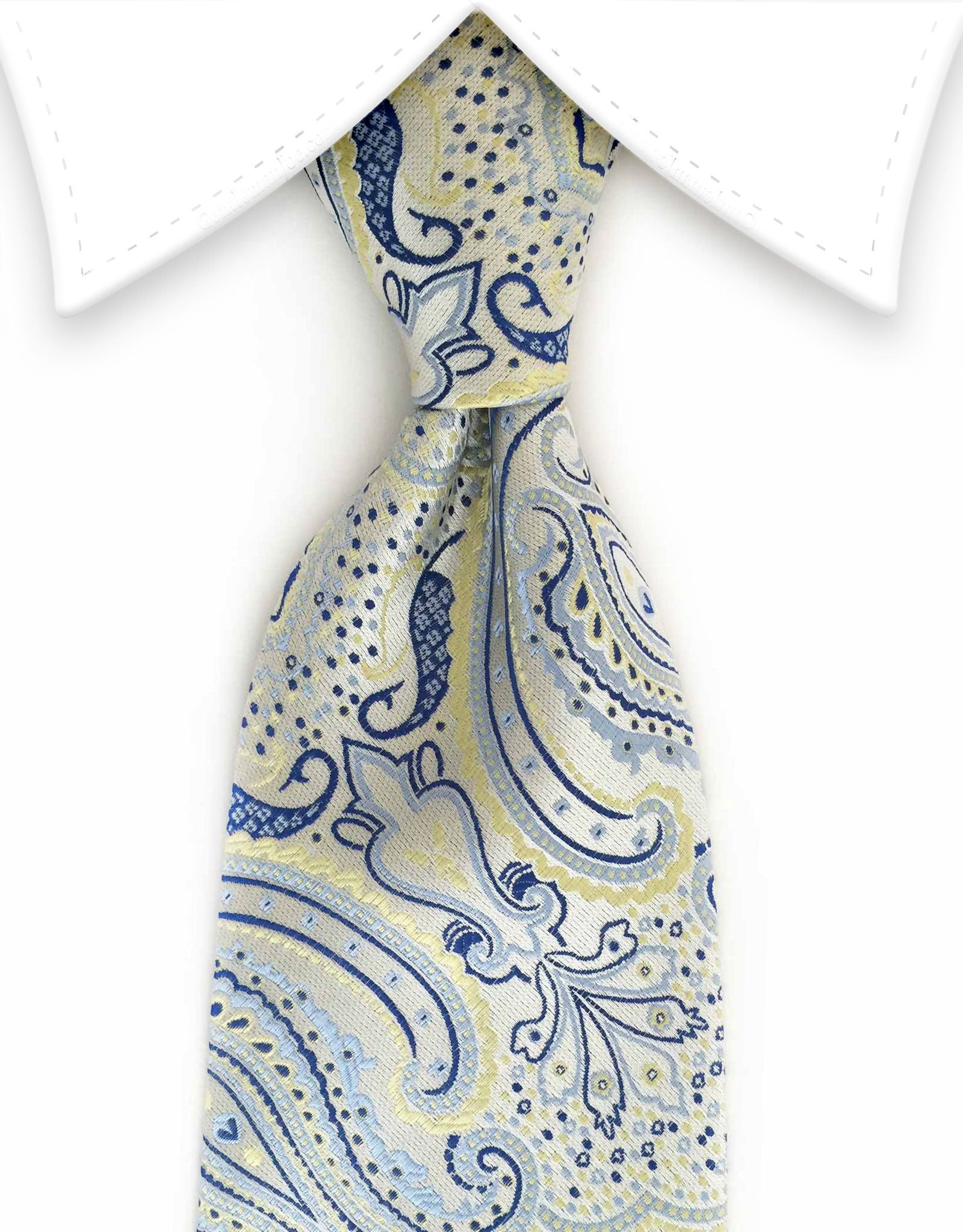 pearl tie with blue & yellow floral accents