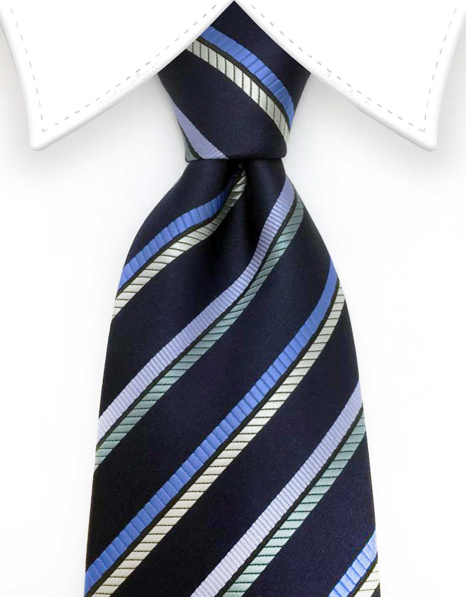 Navy Blue Tie with Stripes
