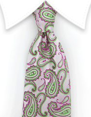 blush pink tie with green and pink