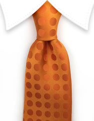 Bright orange polka dot mens tie
