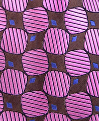 Pink and Brown Geometric Silk Tie