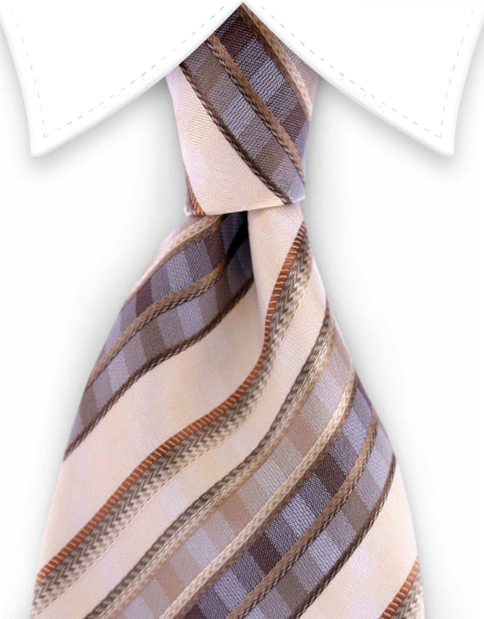 Brown & Beige Striped Necktie