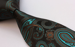 brown and teal tie