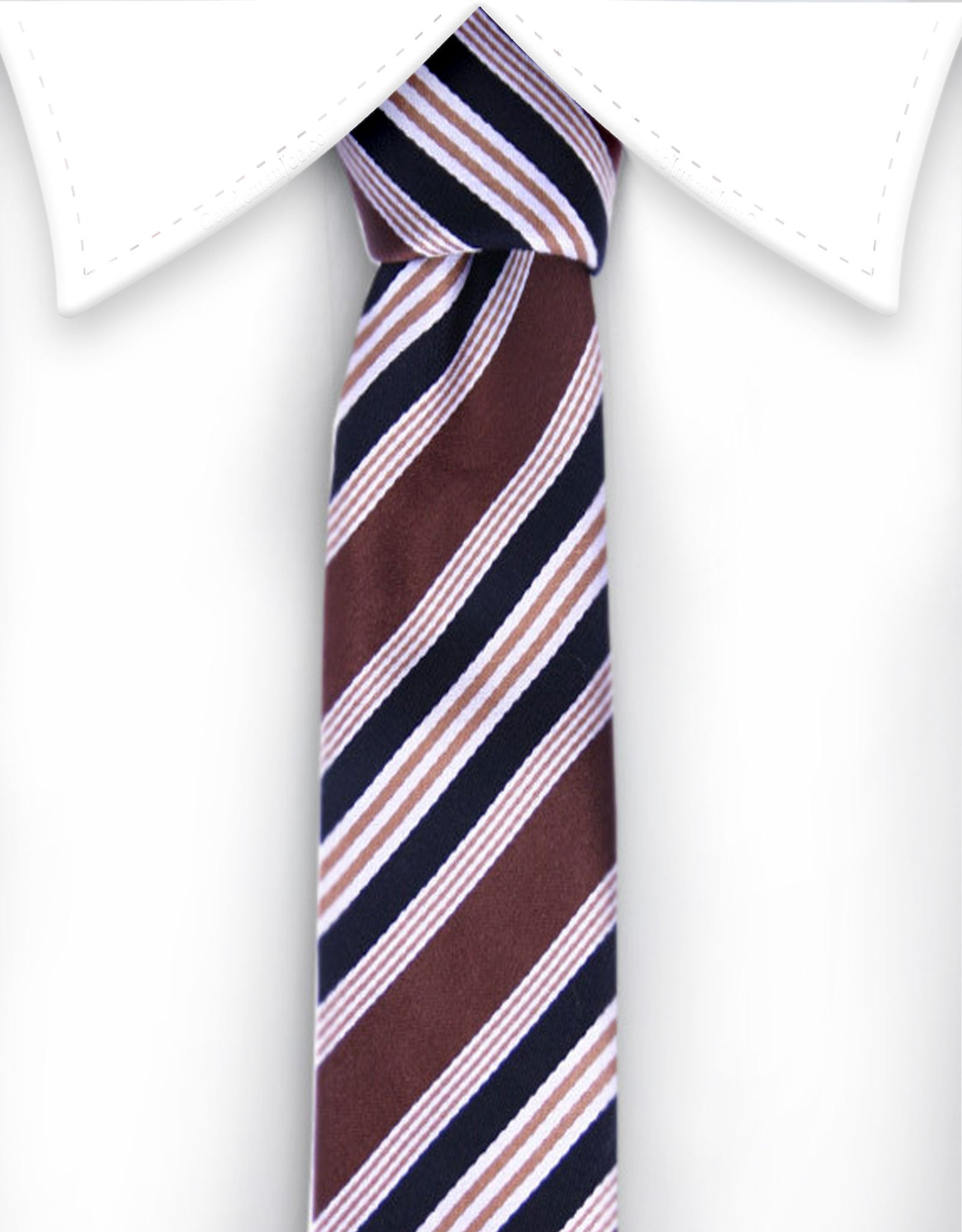 Brown and black striped narrow tie