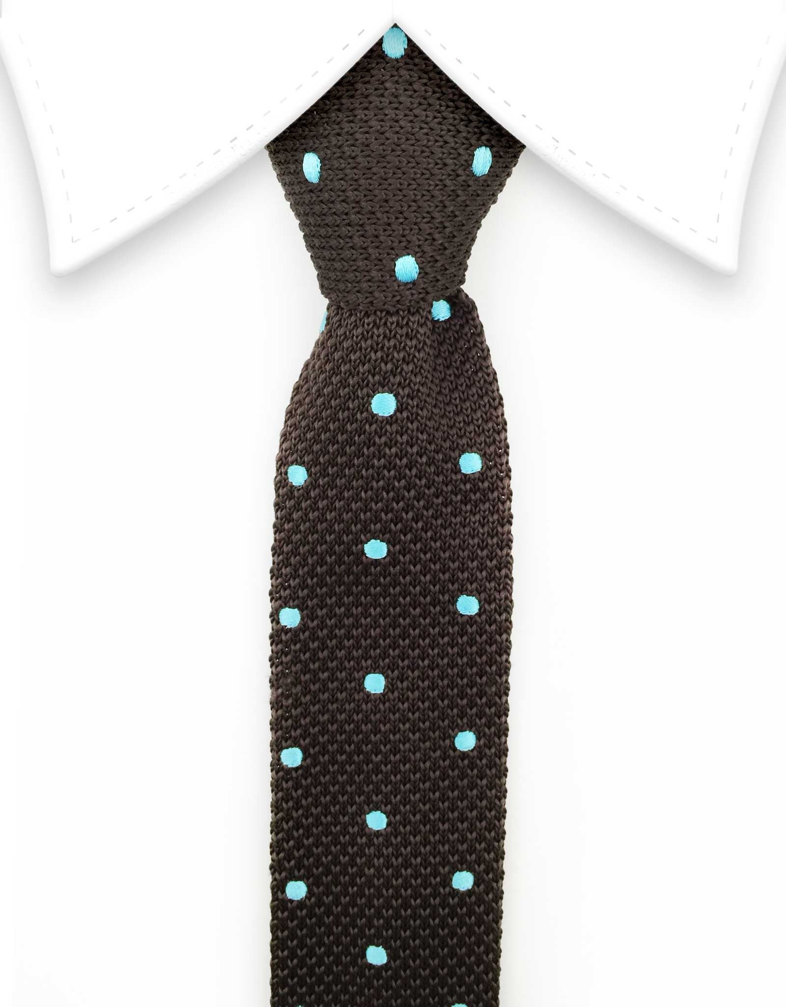 brown knit tie with blue polka dots