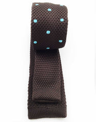 brown skinny tie with blue dots