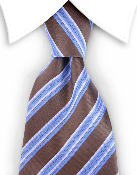 brown tie with blue stripes