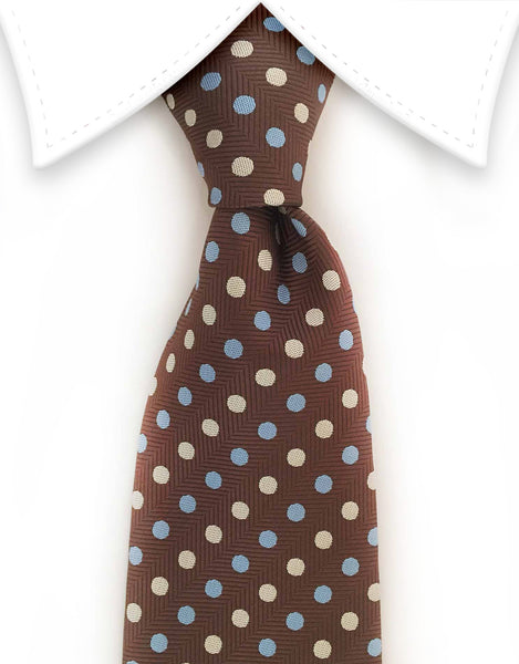 Brown & Blue Polka Dot Tie