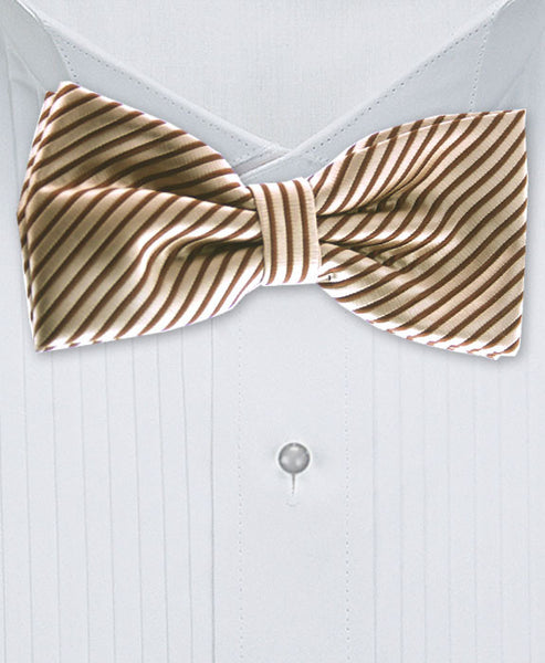 Brown Striped Bow Tie