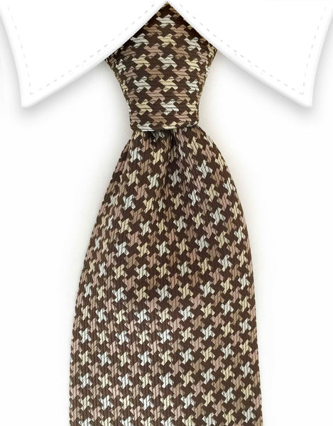 brown houndstooth tie