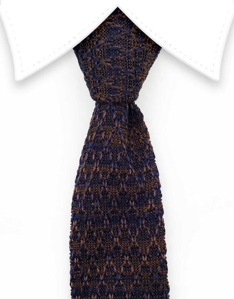 Brown and purple knitted tie