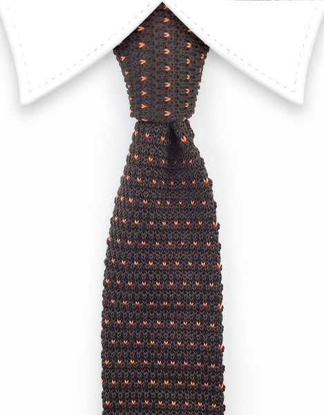 brown knit necktie with orange flecks