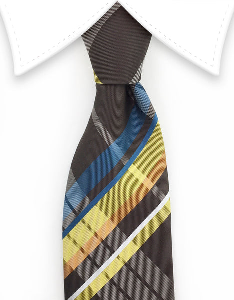 brown & mustard yellow plaid tie