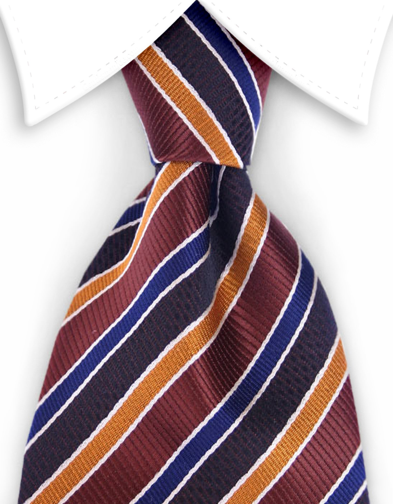 brown, navy blue, orange striped tie