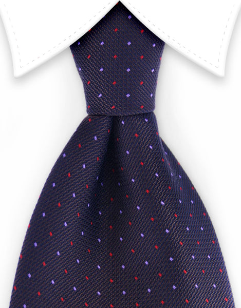 brown pin dot tie