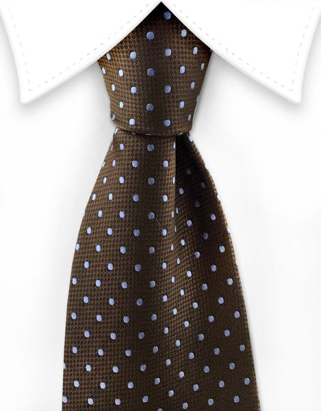 brown tie with silver polka dots