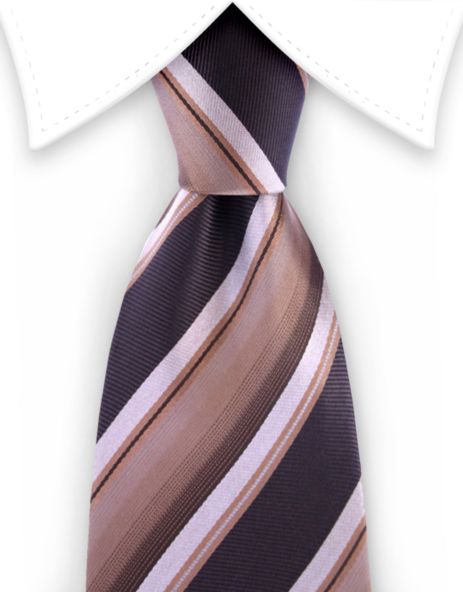 brown and tan striped silk tie