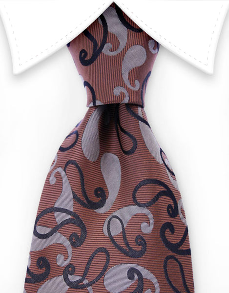 brown tie with small black paisley design