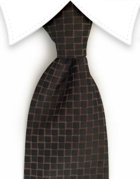 Brown Men's Tie with Squares