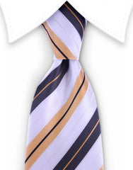 Brown, Apricot and White Striped Tie