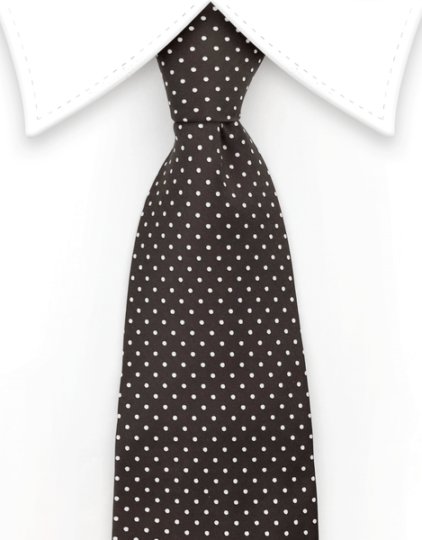 Brown tie with white pin dots