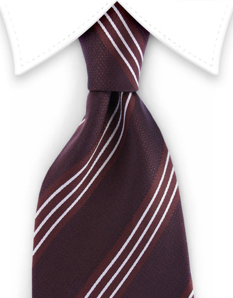 Brown Tie with white pin stripes