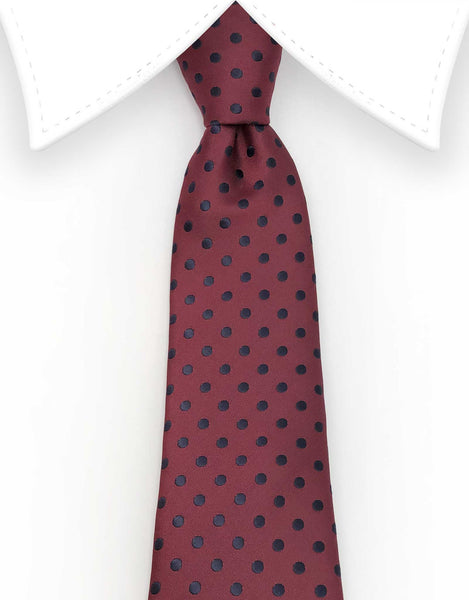 burgundy tie with black polka dots